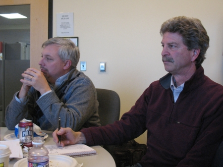 Matt Doiron and Jeff Beaudry listen intently
