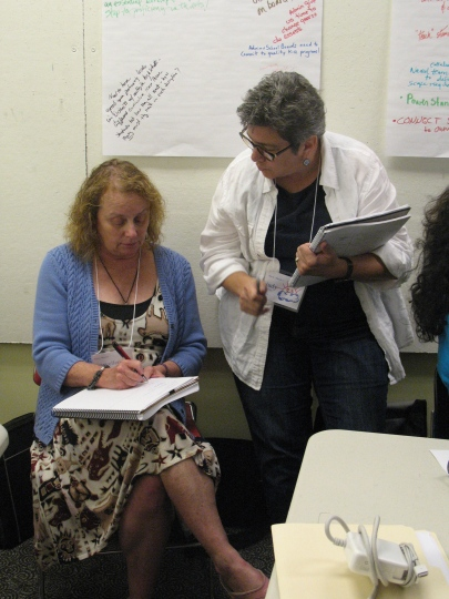 Dance teacher MaryEllen Schaper and Early Childhood/music educator Judy Fricke compare notes