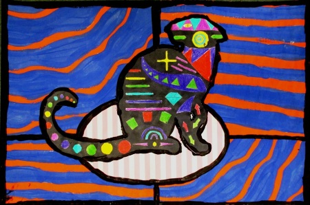 """Ipcar Cat"" mixed media by Kristin of Windsor Elementary School, submitted by her art teacher Genevieve Keller"