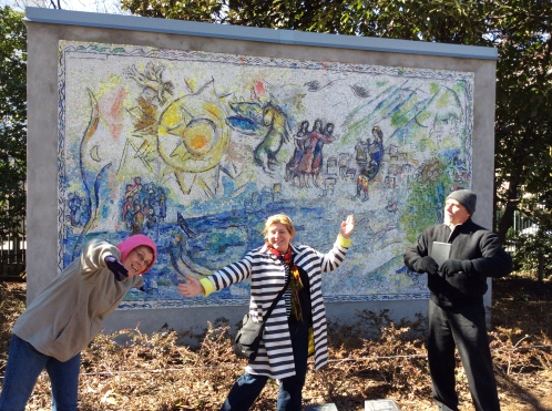 Danette and her two colleagues in Washington, D.C. at a Chagall mosaic.