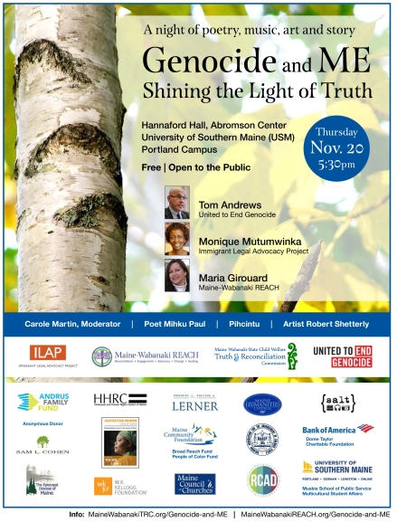 Genocide and ME: Shining the Light of Truth, Nov. 20 in Portland