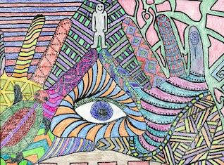 """""""Eye in Triangle"""", by Dominick Bernard, Deering High School, Grade 10"""