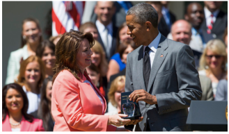 President Obama presents the 2015 National Teacher of the Year award to Shanna Peeples on April 29 at the White House