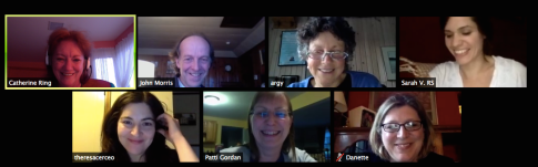 The Resource Team meeting by Zoom updating each other on their progress
