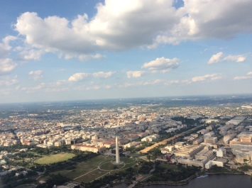 Flying over the nations capital.