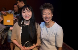 Maine's 2016 Poetry Out Loud Champion Rose Horowitz of Mt. Ararat High School in Topsham, who also took first place nationally in a new opportunity for the finalists to showcase their original poetry through an optional competition called Poetry Ourselves, shown here with National Endowment for the Arts chair Jane Chu at the competition finals in Washington, D.C. Photo courtesy Maine Arts Commission.