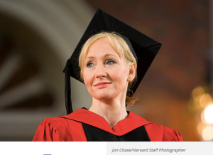 J.K. Rowling acknowledges applause following the awarding of her honorary degree.