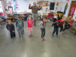 John working with kindergarten class