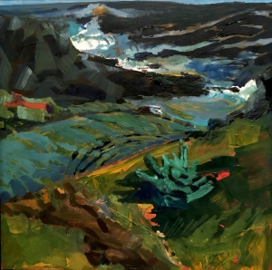 Krisanne Baker Little Spruce Sentinel at Lobster Cove, 2016, Oil on panel, 24 x 24 inches