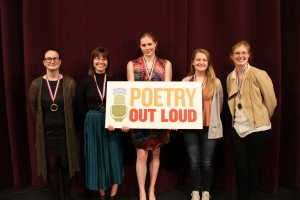 Poetry Out Loud Northern Regional Finalists left to right: Antyna Gould, Medomak Valley High School; Gabrielle Cooper, Gardiner Area High School; Emma Beyor, Erskine Academy; Kate Hodgson, Camden Hills Regional High School; Natalie Lisnet, Bangor High School.