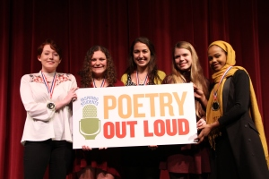 Poetry Out Loud Southern Regional Finalists left to right: Sabrina Small, Maine Coast Waldorf School; Skyler Vaughn, The Maine Girls' Academy; Arielle Leeman, Morse High School; Jordan Bryant, Greely High School; Amran Mahamed, Deering High School.